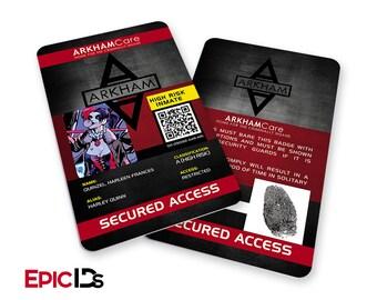 "Arkham Asylum Inspired ""Harley Quinn"" ArkhamCare Inmate ID Badge"