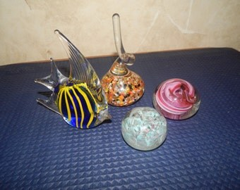 4 Glass Paperweights