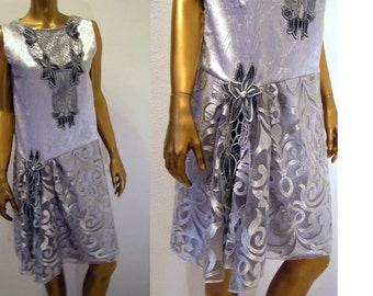 Silver Lace and Satin 1920s Flapper Downton Abbey Roaring Twenties Dress  XS Small