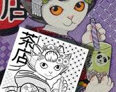 Japanese Kimono Cats Colo...
