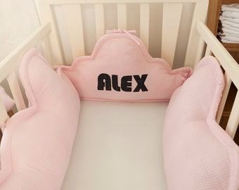 Personalized  baby clouds bumper with name appliqué, custom name pillows, cot bumper, personalized crib bumper