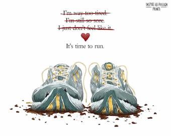 Gift for Runners   Motivational Art for Runners   Marathon Runner Motivation   Old Running Shoes   Runner Encouragement   5x7   8x10   11x14