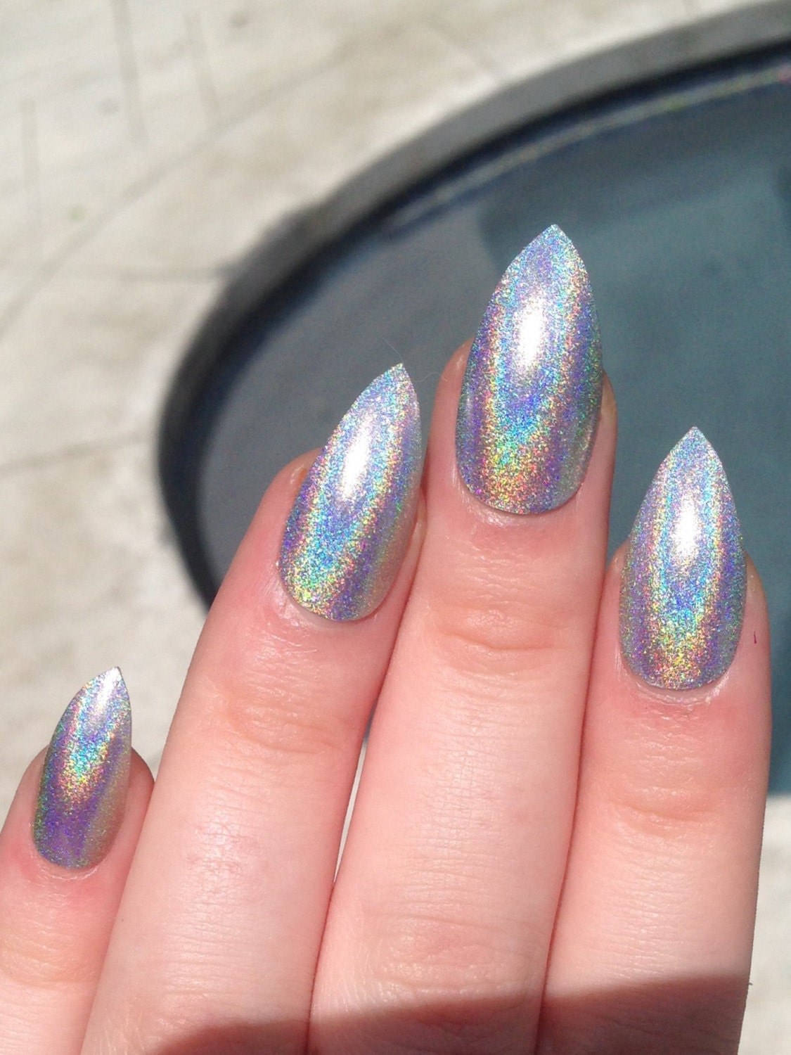 Stiletto Nails Fake Nails Matte Nails Blue Press On Nails: Fake Nails Stiletto Nails Holographic Nails Holo