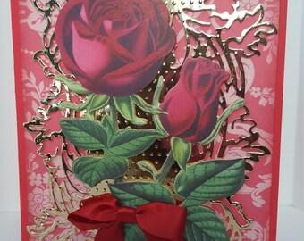Rose floral greeting card