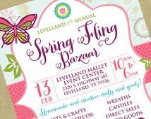 Spring Fling Craft Bazaar Fair Market Expo Invitation Poster / Template Church School Community Goods Sale Flyer / Fundraiser Poster Sale