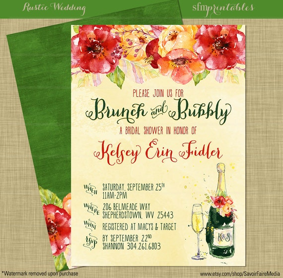 Rustic Fall Brunch And Bubbly Bridal Shower Invitations