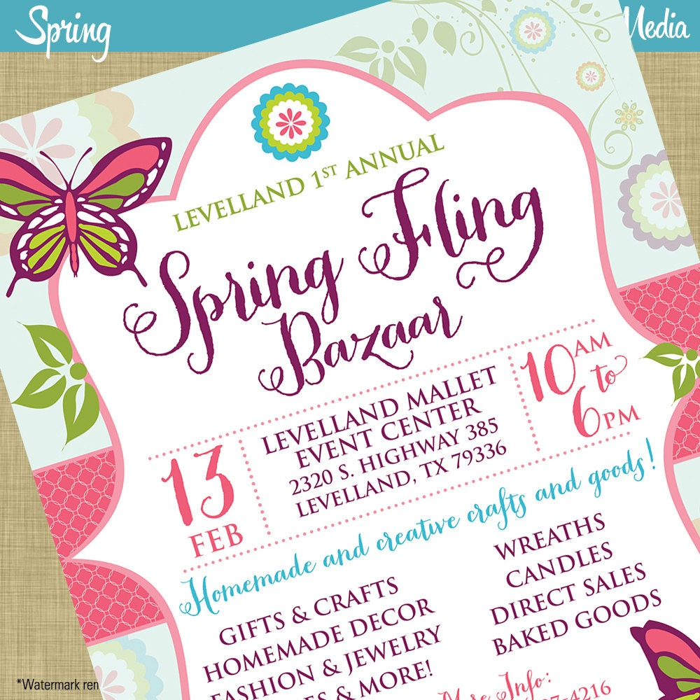 spring fling craft bazaar fair market expo invitation poster 128270zoom