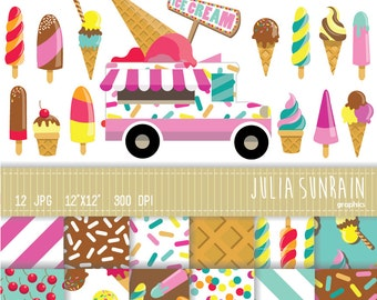 Ice Cream Clipart & Digital Scrapbooking Papers Set - Instant Download - Personal and Commercial Use