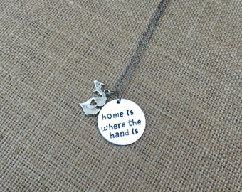 Hand stamped michigan necklace