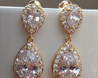 Stunning gold crystals and cubic zirconia bridal earrings