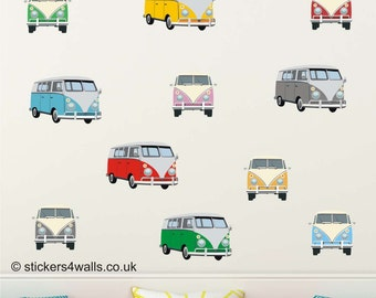 CAMPERVAN Fabric Wall Stickers, front and side view. Repositionable. reusable surfing seaside wall decals