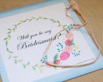 Custom Bridesmaid Morse Code Dainty Bracelets/ Custom Morse Code Name Bracelets for Bridesmaids/ Wedding Party Gift Ideas/ Be My Bridesmaid