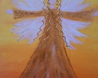 Angels of wealth, acrylic on canvas, original, 18 x 24 cm
