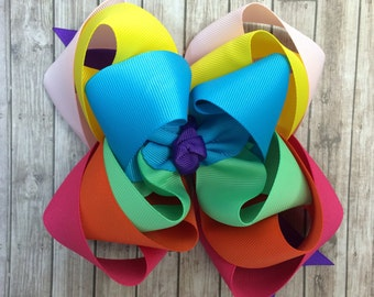 Rainbow hair bow, triple stack hair bow, big hair bow