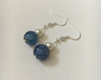 Blue Glass and Pearl Effect Beaded Drop Earrings