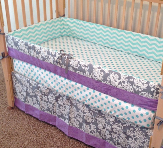 purple and aqua crib bedding teal and by sewsweetbabydesigns. Black Bedroom Furniture Sets. Home Design Ideas