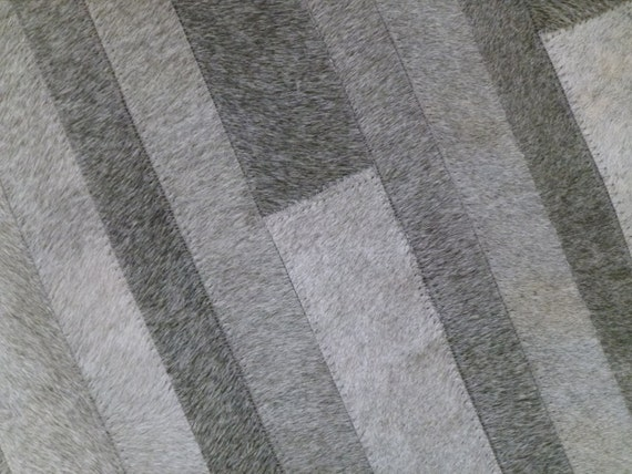 Cowhide Patchwork Rug. GRAY STRIPES Amazing Design. 4ft x