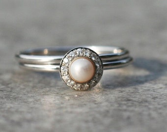 halo engagement ring pearl engagement ring white pearl engagement ring with diamonds in 14k gold unique wedding set - Pearl Wedding Ring Sets