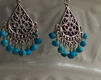 Turquoise and sterling silver chandelier earrings