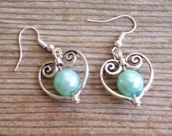 Aqua Pearl Earrings, Filigree Silver Heart Earrings, Bridal Earrings, Robins Egg Blue Pearl Bead Heart, Bridal Jewelry, Silver Red  Earrings