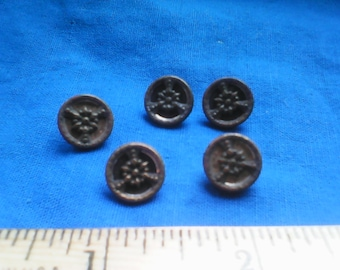 Antique Victorian metal picture buttons floral