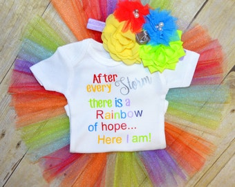 After every Storm there is Rainbow of Hope, here I am Baby One piece body suit, tutu, headband, Rainbow Baby, Miracle Baby, Colorful, Cute