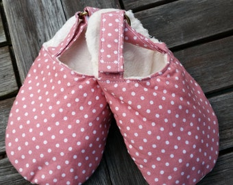 Pretty Pink Polka Dot children's slippers with adjustable Velcro strap and nonslip sole.