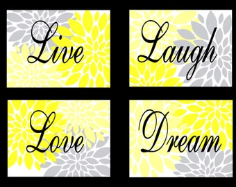Yellow Gray Flowers Starbursts Wall Decor Art Prints Live Laugh Love Dream