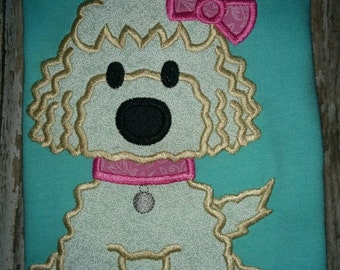 Girls Labradoodle Poodle Dog Bow Girl Boutique Birthday Embroidered Applique T-Shirt Tshirt Shirt Birthday Party Labrador Toddler Baby Puppy