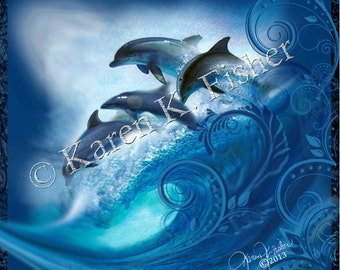 """Note card """"WAVE RIDERS"""" 5""""x5"""""""