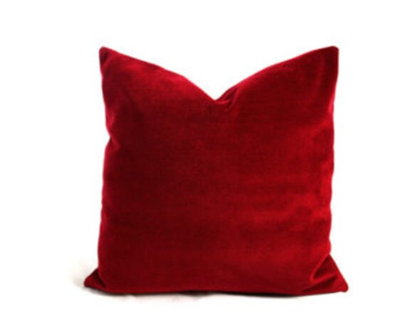 Red Velvet Decorative Pillow Covers Custom Made by Tailor2U