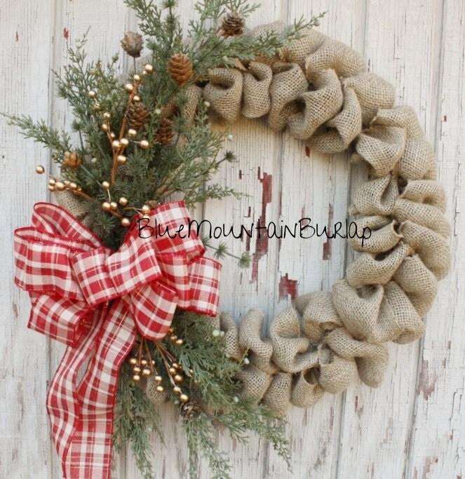 Plaid christmas burlap wreath christmas wreath front door for Front door xmas wreaths