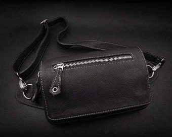 Leather Waist Bag, Fanny Pack, K05D04