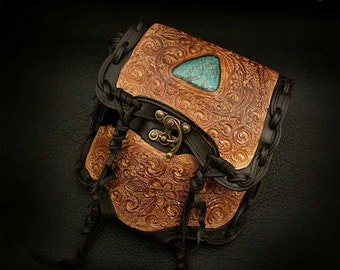 Leather Medicine Bag with Turquoise Stone Waist Bag Brown Carving K06D20
