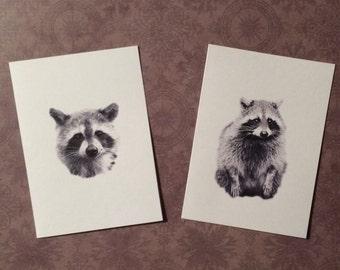 Set of 6 or 12 Handmade Blank Raccoon Print Note Cards