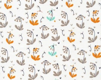 Cowslips in Grey, Foxglove Collection by Aneela Hoey for Cloud 9 Organic Fabrics