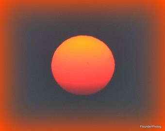 Sunset picture with orange vignette, over Bellingham Bay, molten orange sun picture, wall art, modern art