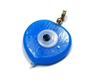 50 Percent Off Sale!   Handmade Evil Eye, Glass Evil Eye Charm,  Heart Shaped Evil Eye - EE036-A