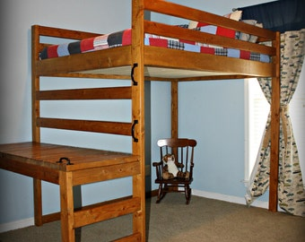 Rustic Loft Bed, Solid Wood Kids Loft Bed, Kids Bunk Bed, Rustic Bunk Bed