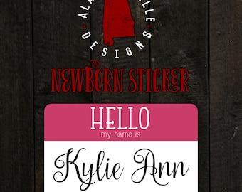 """Newborn """"Hello my name is"""" Sticker"""