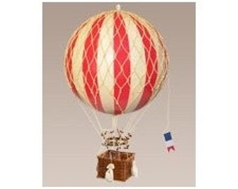 Red Striped Hot Air Balloon Model of 1890's Era Home Office Decor