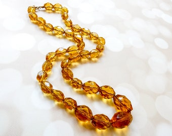 Amber Beaded Necklace - Vintage Boho Necklace - Art Deco Necklace - Downton Abbey Fashion -  1920s Fashion - Gift For Her - Art Deco Fashion