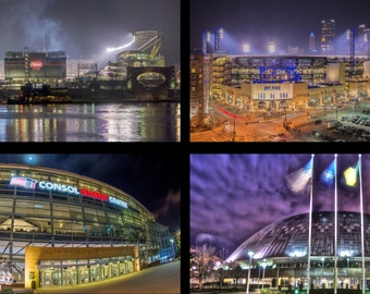 The Stadiums of Pittsburgh - PNC Park, Heinz Field, CONSOL Energy Center and the Civic Arena - Various Prints