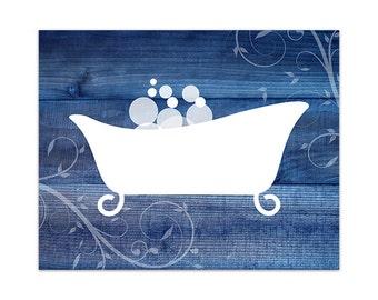 Blue bathroom art | Etsy