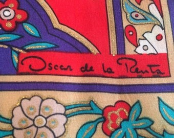 Vintage Oscar de la Renta Women's Long Floral Silk Scarf in Red & Turquoise, FREE SHIPPING