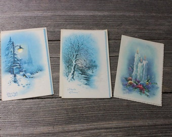Vintage Christmas cards, set of 3 midcentury Christmas cards