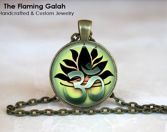 LOTUS FLOWER OM Pendant • Green Lotus Flower • Namaste • Hindi Peace Sign • Meditation • Gift Under 20 • Made in Australia (P0353)