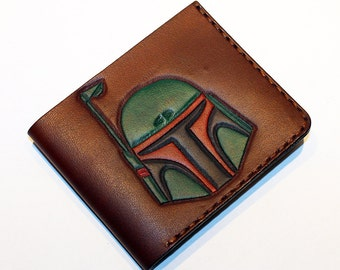 Star Wars Wallet With Bobba Fett, Handmade Wallet, Leather Wallet, Star Wars, Credit Card Wallet,Great Gift!