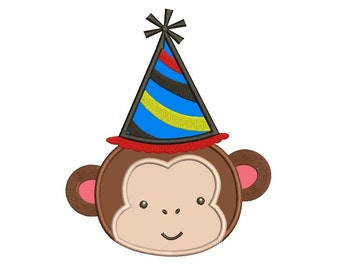 Birthday Monkey wearing Party Hat Applique Machine Embroidery Digitized  Design Pattern - Instant Download - 4x4, 5x7, 6x10