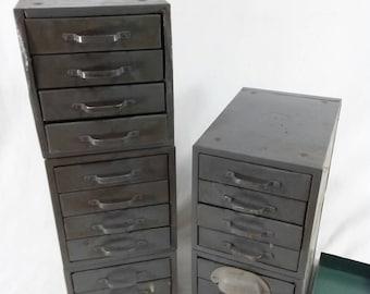 5 wards master storage parts bins vintage metal drawers painted grey
